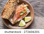 sandwich with salmon  avocado... | Shutterstock . vector #272606201