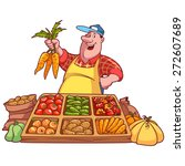 Cheerful Vegetable Seller At...