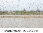 Rain Drop On The Car Glass In...