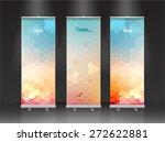 summer roll up banner stand... | Shutterstock .eps vector #272622881