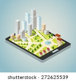 supermarkets  skyscrapers and... | Shutterstock .eps vector #272625539