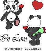 vector cute panda isolated on... | Shutterstock .eps vector #272628629