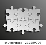 six piece flat puzzle round... | Shutterstock .eps vector #272659709