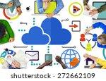 brainstorming sharing online... | Shutterstock . vector #272662109
