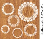 set of crochet lacy frames.... | Shutterstock .eps vector #272668415