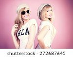 two beautiful young blonde... | Shutterstock . vector #272687645