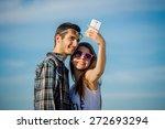 selfie with smartphone  happy... | Shutterstock . vector #272693294