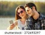 selfie with smartphone  happy... | Shutterstock . vector #272693297