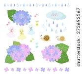 Set Of Rainy Season Elements  ...