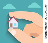 mini house in hand | Shutterstock .eps vector #272698829