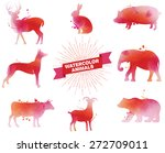set of watercolor animals... | Shutterstock .eps vector #272709011