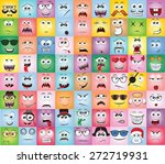 set of cartoon faces with... | Shutterstock .eps vector #272719931