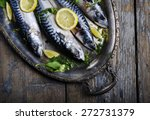 mackerels served on silver... | Shutterstock . vector #272731379