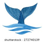 whale tail in wave   hand drawn ... | Shutterstock .eps vector #272740139