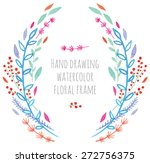 hand paint frame of watercolor... | Shutterstock .eps vector #272756375