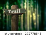 wooden trail sign in a forest... | Shutterstock . vector #272778545