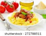 egg tagliatelle with meatballs... | Shutterstock . vector #272788511