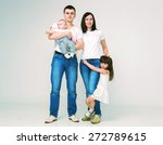 happy beautiful family 4 people ... | Shutterstock . vector #272789615