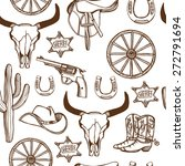 hand drawn wild west western... | Shutterstock .eps vector #272791694