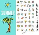 set of  vector doodle summer... | Shutterstock .eps vector #272793377