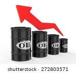 oil barrels with red arrow up. | Shutterstock . vector #272803571