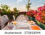 dinner in italian restaurant on ... | Shutterstock . vector #272818394