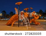 Playgrounds in garden at night - stock photo