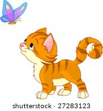 Stock vector the nice kitten looking to butterfly vector 27283123