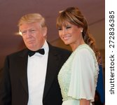 Small photo of WASHINGTON APRIL 25 - Donald Trump and wife Melania arrive at the White House Correspondents' Association Dinner April 25, 2015 in Washington, DC