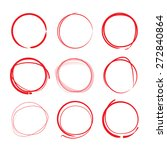 red hand drawn circles  vector | Shutterstock .eps vector #272840864