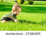 Infant Sits On The Grass