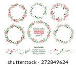 vector watercolor wreaths and... | Shutterstock .eps vector #272849624