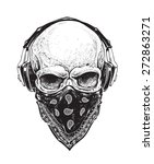 dotwork styled skull with... | Shutterstock .eps vector #272863271