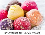 Stock photo ice cream scoops on wooden table close up 272879105