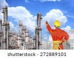 engineer pointing at... | Shutterstock . vector #272889101