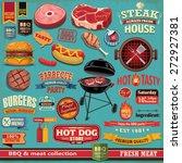 vintage bbq meat poster design... | Shutterstock .eps vector #272927381
