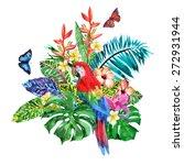 luxury bouquet of tropical... | Shutterstock . vector #272931944