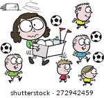 vector cartoon of mother... | Shutterstock . vector #272942459