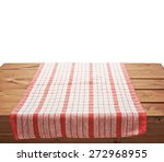 red tablecloth or towel over... | Shutterstock . vector #272968955