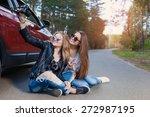 happy friends on road trip... | Shutterstock . vector #272987195