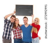 group of happy young people... | Shutterstock . vector #272992991