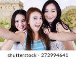 three lovely teenage girls... | Shutterstock . vector #272994641