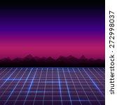 abstract retro 80's sci fi... | Shutterstock .eps vector #272998037