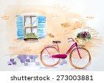 Watercolor Vintage Bicycle...
