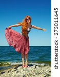 romantic redhead young woman in ... | Shutterstock . vector #273011645