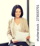 indoor picture of happy woman...   Shutterstock . vector #273033701