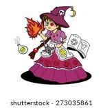 witch girl cartoon vector | Shutterstock .eps vector #273035861