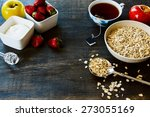 healthy breakfast. oats ... | Shutterstock . vector #273055169