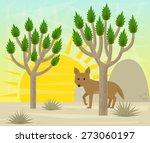 joshua tree and coyote  ... | Shutterstock .eps vector #273060197