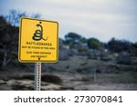 Yellow Sign With A Warning For...